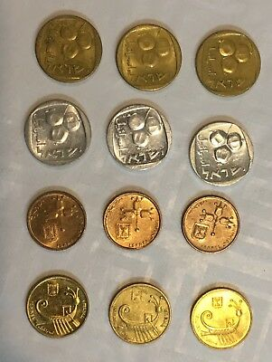"Lot 12 Israeli ""Agorot"" Coins Different Editions 1970 - 1990 UNC/AU (#B092)"