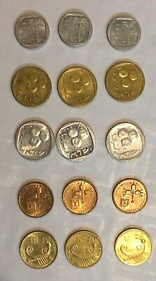 "Lot 15 Israeli ""Agorot"" Coins Different Editions 1970 - 1990 UNC/AU (#A3190)"