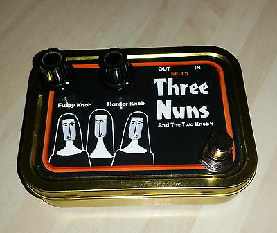 Fuzz Face Clone in Three Nuns and 2 knobs tobacco tin 4 Cigar Box Guitar Pedal