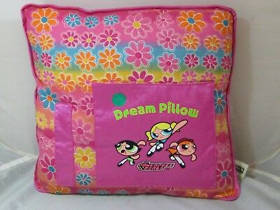 Vintage PowerPuff Girls Dream Pillow from 2001 Cartoon Network Square Pink 12""