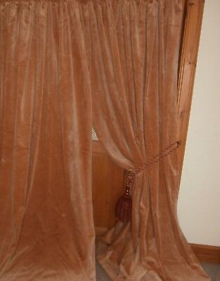 "Pale Terracotta Vintage Velvet Curtains 86""Dr - 134""Wd.Cleaned.Lined.PAIR 2"