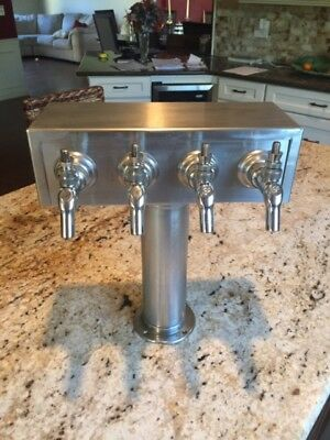 Draft Beer Tower System Bar Home Brewing Brew Keg Tap Faucet 4 Unit