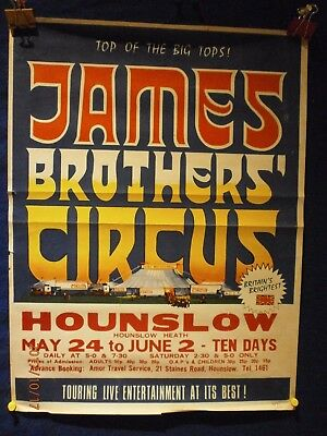 Rare James Brothers Circus Poster  Hounslow  1971