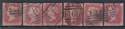 GB QV 1858-79 1d red, used, SG43/44 Plates 133, 134, 137?, 148, 150, 154