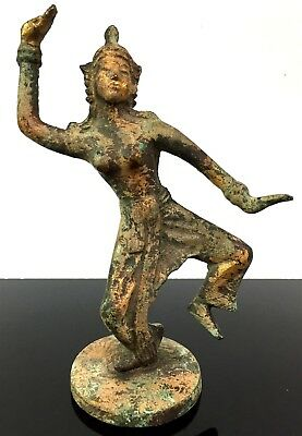 VTG Japanese Asian Cast Iron Dancing Statue Figure