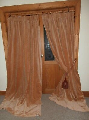 "Long Pale Terracotta Vintage Velvet Curtains 86""Dr - 92""Wd.Cleaned.Lined.PAIR 3"