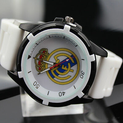 Men's Wristwatch Real Madrid Watch Sports Boy's White Band Football Fan Souvenir
