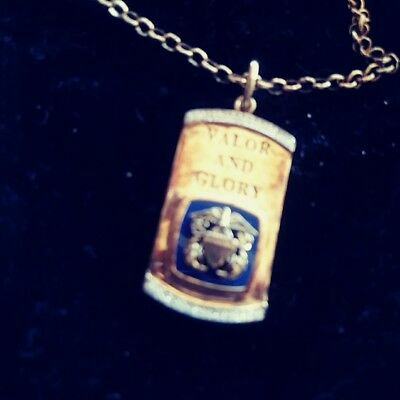 Vintage Military NAVY/NAVAL Valor and Glory Sterling Pendant Necklace