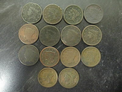 Lot Of 14 Mixed United States Large Cents 1817 To 1854 Us Pennies