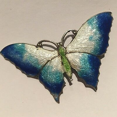 Vintage silver and enamel large butterfly brooch