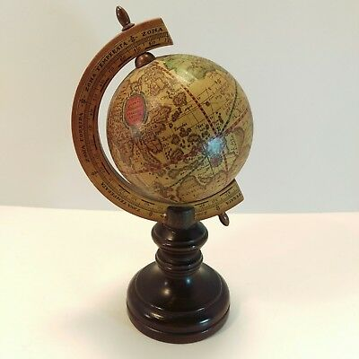 Old World Small Globe Desk Wood Base 9 Inches