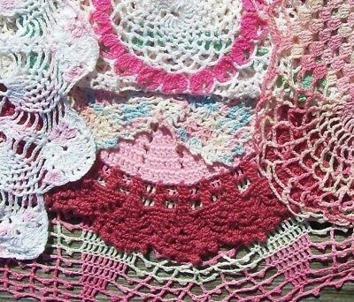 """Vintage Doily Lot of 6 Hand Crochet PINK DOILIES 8"""" to 16""""   NR"""