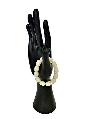CHINESE FINE WHITE JADE Beads Round Tube Bracelet Mutton Fat Nephrite