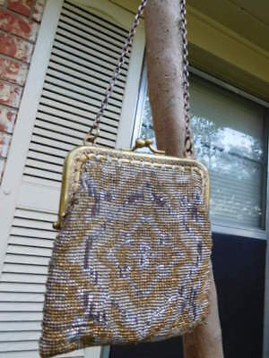 Vintage Evening Purse w/Metal Beaded Body & Brass-look Frame Made in France