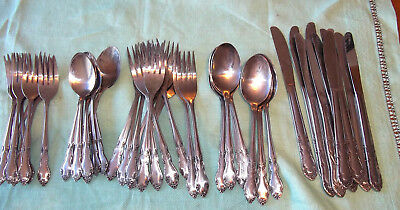 Northcraft Korea Satin Stainless Steel Flatware Service for Nine + Spare Pieces