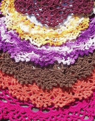 """Vintage Doily Lot of 10 Hand Crochet COLORFUL DOILIES 7"""" to 14"""" Bold Colors   NR"""