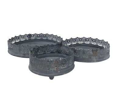 Round Silver Mirror Glass Tray Vintage Style Tea Light Candle Plate Lace Edge