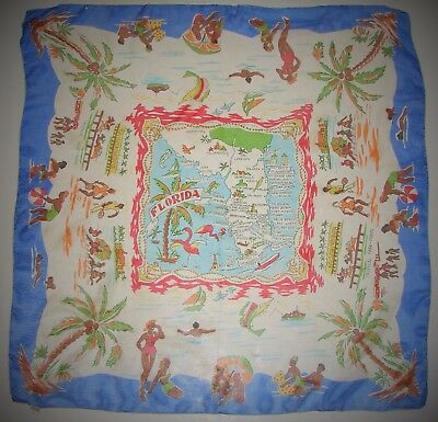 Vintage Souvenir FLORIDA Hand Rolled Silk Scarf Wrap Hand Made in Japan