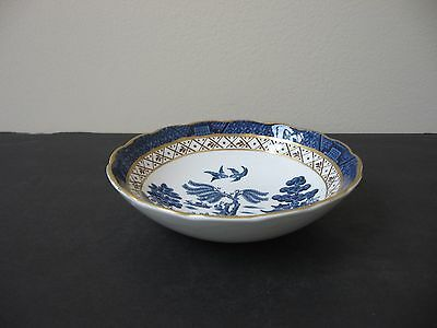 """Vtg BOOTHS ENGLAND """"REAL OLD WILLOW"""" GOLD ACCENTS FRUIT DESSERT BOWL BLUE WHITE"""