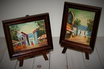 2 Vintage Framed Tuscan or Spanish Town Scene Paintings on Board w/ Display Ease