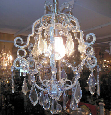 "Vintage Italian Beaded Gilt Arms w Clear Crystals 19"" Chandelier Light Fixture"