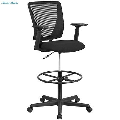 Flash Furniture Ergonomic Mid-Back Mesh Drafting Chair with Black Fabric Seat, A