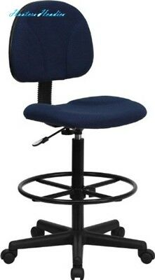 Flash Furniture Navy Blue Patterned Fabric Drafting Chair (Cylinders: 22.5''-27'