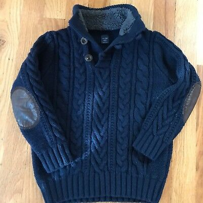 Boys BABY GAP Sz 4y Navy Blue Chunky Cable Knit Mock Sweater Elbow Patches