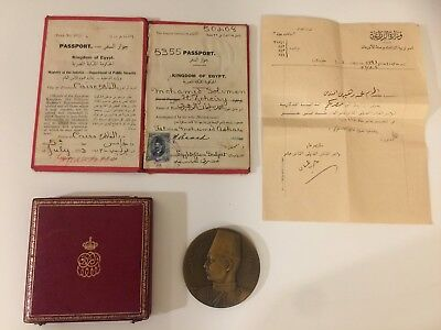 EGYPT BRONZE MEDAL OF KING FAROUK 18TH INTERN COTTON CONGRESS 1938 Passport