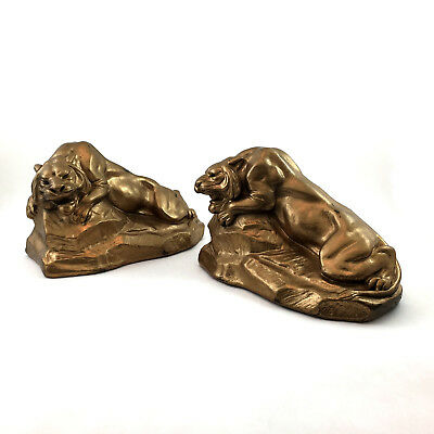 SALVATORE MORANI * Armor BRONZE Clad Lion Statues | Bookends * Set of 2