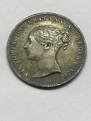 1866 Great Britain Silver 3 Pence VF+ #7023