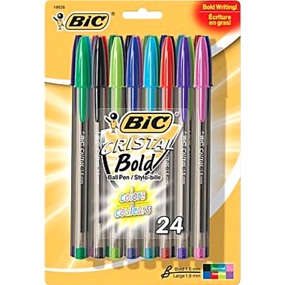 Bic Cristal Xtra Bold Stick Ballpoint Pens 1.6mm Bold Assorted Colors 24 Pack