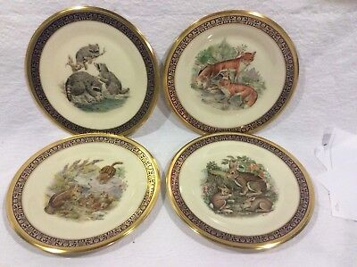 SET OF 4 LENOX BOEHM WOODLAND WILDLIFE COLLECTORS PLATE 1970's STUNNING