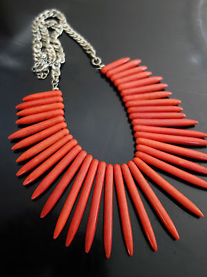 RETRO 70s INSPIRED ! CORAL TONED POINTED CERAMIC SPEAR NECKLACE