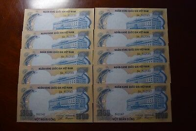 LOT of 10 Vietnam South, ND (1972) 1000 dong 10 Consecutive Notes, AU-UNC