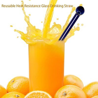 Fashionable Reusable Heat Resistance Glass Fruit Juice Milk Drinking Straw