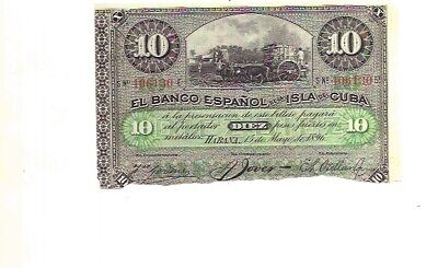 Spain 10 Pesos 1896 Authentic And Original Note Havana Colonial