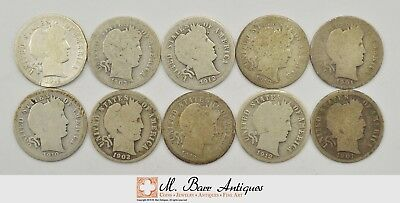 Lot 10 90% Silver Barber Liberty Head Dimes- 1892-1916 Starter Collection *606