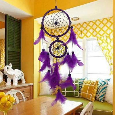 SL#W Double Ring Purple Feather Dream Catcher Wall Hanging Home Car Decor Craft