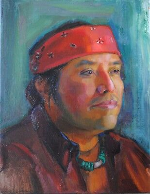 Original Oil Portrait Painting Native American Indian Man Contemporary Realism