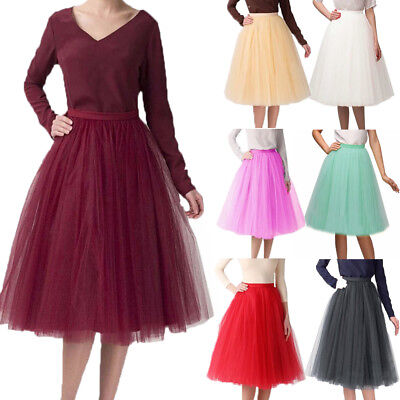 02fb57722 US Stock Womens Tulle Short Tutu Skirt Knee Length Princess Ballet Party  Dress