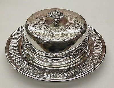 Vintage Ornate Cheese Dish and Lid Silverplate on Copper - Viking