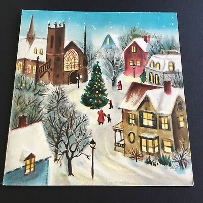 Vintage Christmas Greeting Card, tree in snowy town, hallmark brand