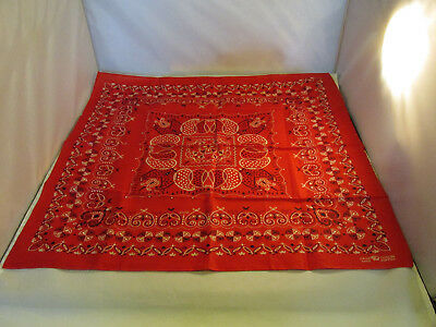 Vintage Fast Color Upturned Elephant Trunk Red Bandanna