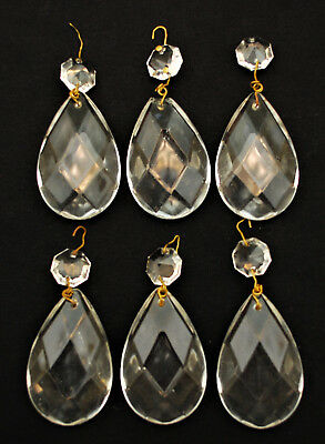 "6 Piece Antique Teardrop Crystal Cut Glass Prism 3"" Lamp Repair Part Jewelry P-7"