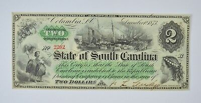 1873 $2.00 EARLY State of South Carolina Bank Note - Crisp *817