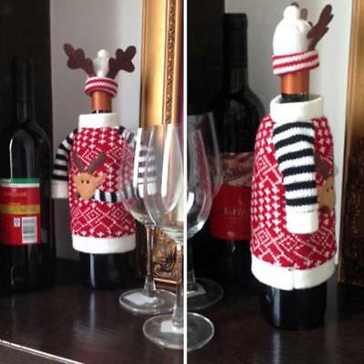 Christmas Wine Bottle Cover Xmas Elk Sweater Hat Dinner Party Table Decor