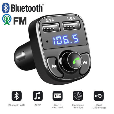 Handsfree Bluetooth Car Kit FM Transmitter LCD TF Audio MP3 Player 2 USB Charger