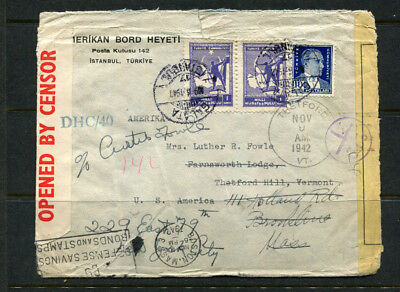 Turkey Rare Stamp Cover 1942 Ww2 Opened By The Censor Rare Istanbul To Usa