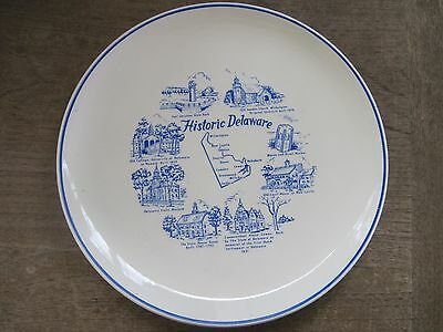 "Historic Delaware 9"" Porcelain Plate..8 Historical Scenes..Gd.Condition"